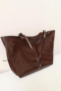 Skórzana torba shopper brązowa elegancka torebka skóra naturaln...