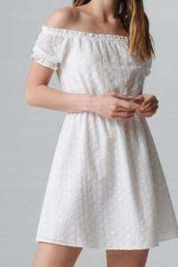 Biała ażurowa sukienka hiszpanka S haft rozkloszowana Cropp