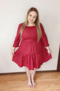 A041 Czerwona Sukienka z Falbanami 2XL Plus Size...