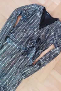Srebrna błyszcząca wiązana sukienka cekiny S M cropp...