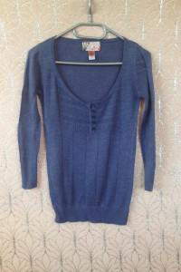 Bluzka jak jeans niebieska długi rękaw basic siatkowana guziki na dekolcie xs s 34 36 tania