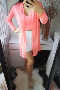 Sinsay Sweterek damski ażurowy różowy neon XS...
