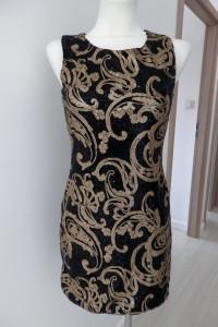 Sukienka Czarna Tiul Złote Cekiny Wieczorowa Dopasowana Imprezowa Nowa by UK 38