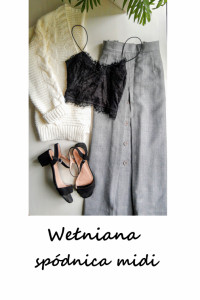 Szara spódnica midi wełniana L XL basic minimalizm...