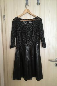 Czarna sukienka eco skóra...