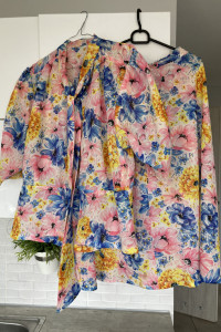 vintage komplet retro kwiaty floral szyfonowy...