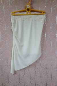 Kremowy top bluzka bez ramiączek na gumce asymetryczna asymetryczny xs s m 34 36 38 elastyczny