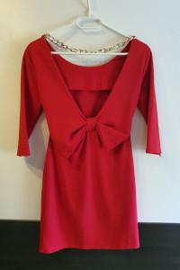 Czerwona sukienka z kokardą S...