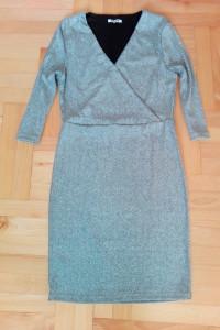 Srebrna brokatowa sukienka S XS zakładany dekolt