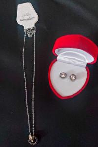 Komplet biżuterii łańcuszek kolczyki...