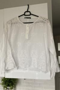 Zara bluzka biała haftowana hafty bawełna