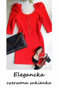 Czerwona dopasowana sukienka S M bufiaste rękawy święta sylwest...