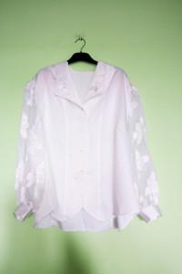 Biała bluzka koszulowa retro guziki vintage...