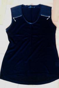 Czarna dzianinowa bluzka z ekoskórą i zamkami M L