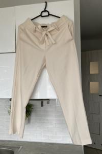 Mango beżowe spodnie cygaretki nude wiązane