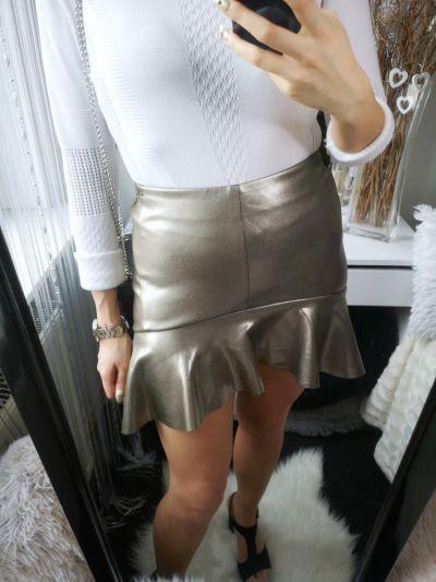 Spódnice Mohito Spódnica damska z falbanką złota S