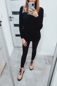Black Outfit with Pink Shoes