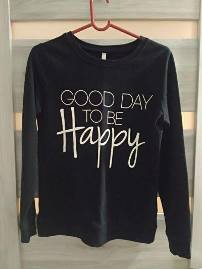 Bluzy czarna bluza z napisem Good day to be happy