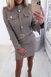 Sukienka w kratę z paskiem...