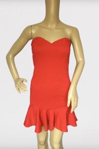 Sukienka Czerwona Lipsy London Odkryte Ramiona NOWA S 36...