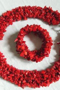 Czerwony koral imponujący zestaw biżuterii kolia i bransoleta...