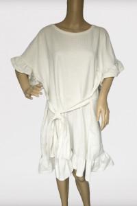 Sukienka H&M Biała Falbanka XL 42 Oversize Tłoczony Wzór...