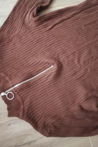 Sukienka sweterkowa prążkowana krótka brązowy czekoladowy rozmi...