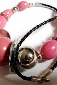 Porcelana i srebro róż indyjski duży i efektowny naszyjnik...