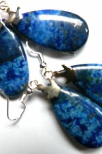 Lapis lazuli z pirytem kolczyki łezki...