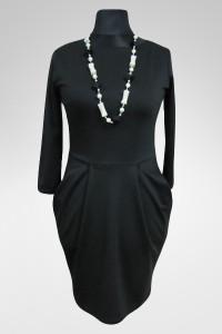 Elegancka Czarna sukienka drapowana z kieszeniami 38 M...
