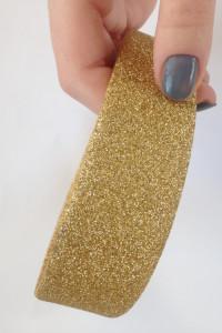 Opaska do włosów szeroka brokat złota elastyczna tania...