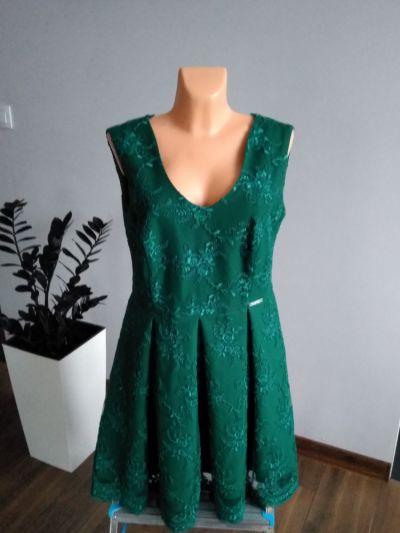 Suknie i sukienki Wieczorowa sukienka butelkow zieleń r 46