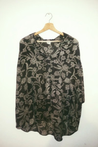 Wzorzysta bluzka mgiełka koszulowa luźna brązowa beżowa...