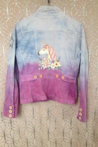 Jednorożec ombre różowa naszywka katana jeansowa jasnoniebieska...