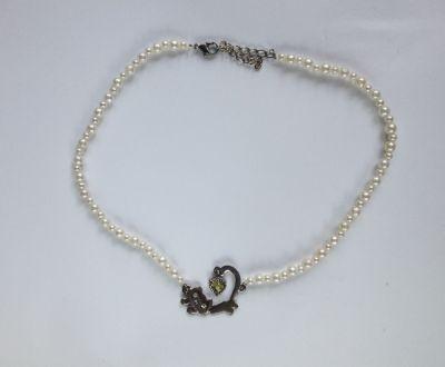 Naszyjniki Naszyjnik perełki perły białe kot kotek używany tani handmade diy na gumce gumka