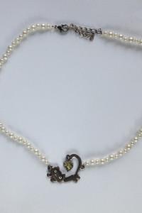 Naszyjnik perełki perły białe kot kotek używany tani handmade d...