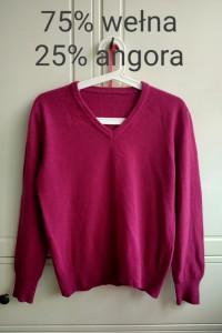 Fioletowy różowy malinowy sweter w serek wełna angora S M