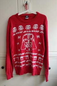 Świąteczny czerwony sweter star wars gwiezdne wojny unisex S M