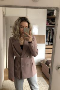 NAKD klasyczna taliowana marynarka dwurzędowa żakiet lilac blazer trend instagram