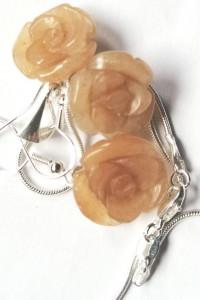 Antydepresyjny awenturyn delikatna biżuteria z różami srebro...