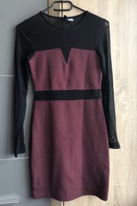 Burgundowa sukienka z czarnymi prześwitującymi wstawkami H&M...