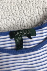 Niebieska bluzka w paski Ralph Lauren Petite...