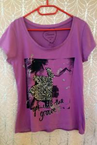 Koszulka tshirt fioletowy z nadrukiem cekiny oversize xs s m l ...