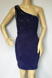 Sukienka NOWA Granatowa Cekiny XS 34 Lipsy London Jedno Ramię...