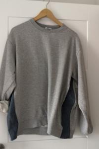 Bluza szara oversize XL wstawki jeansowe
