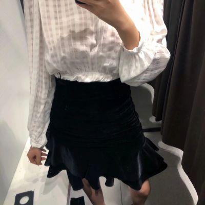 Spódnice Zara czarna aksamitna welurowa spódnica asymetryczna drapowana S