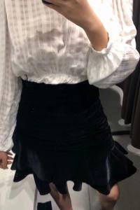 Zara czarna aksamitna welurowa spódnica asymetryczna drapowana ...
