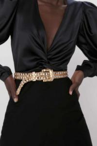 Zara czarna sukienka mini z łączonych materiałów z bufiastym sa...