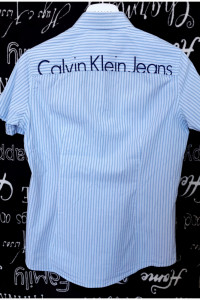 Koszula męska w paski z krótkim rękawem Calvin Klein Jeans L