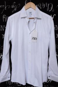Biała Koszula Mankiety na spinki Zara Man Slim Fit L